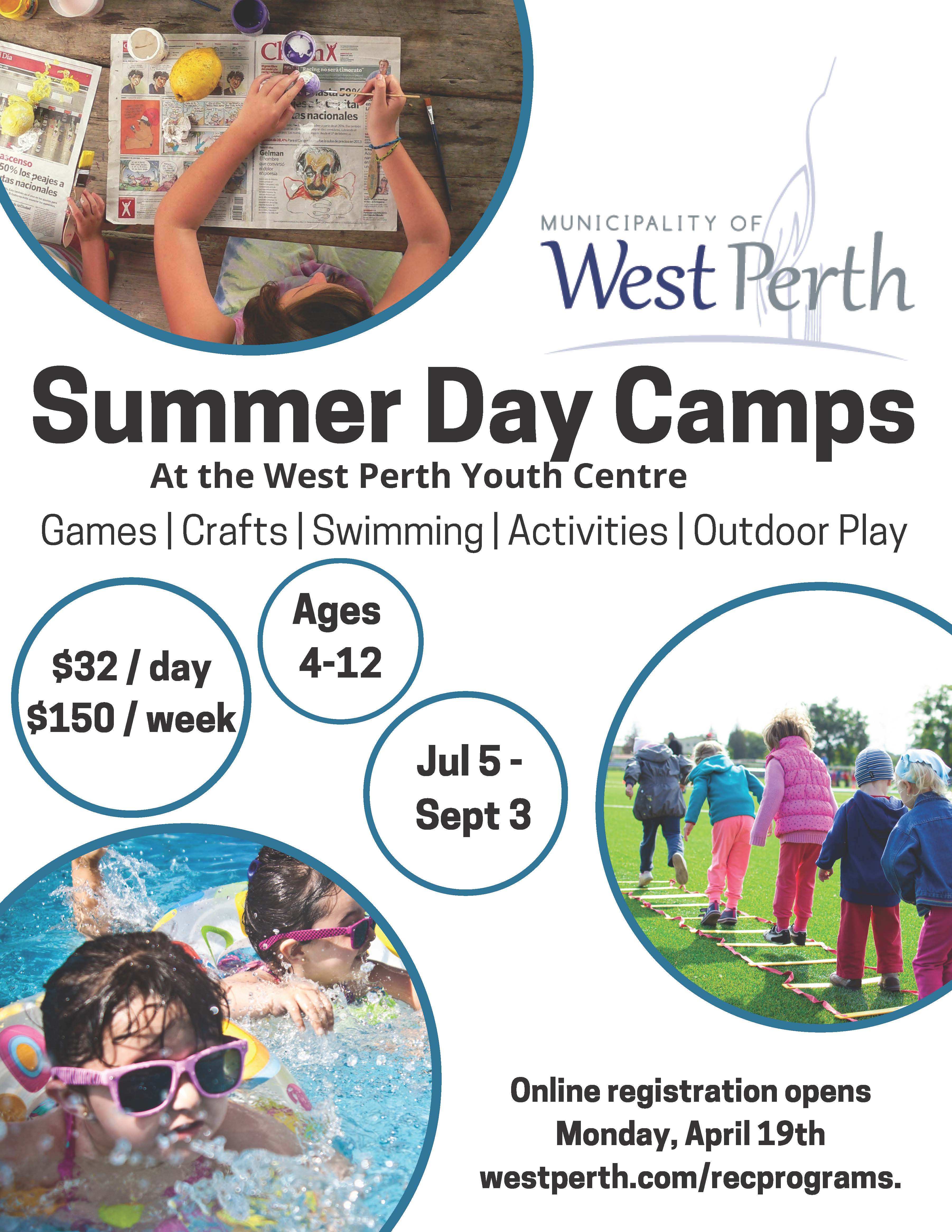 Poster of summer camp activities including swimming, arts and crafts and outdoor play